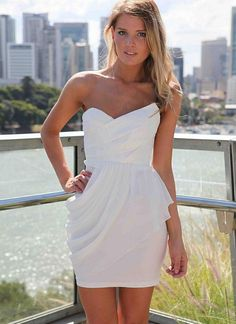 White Cocktail Dress - White Strapless Bodycon Dress with | UsTrendy -rehearsal