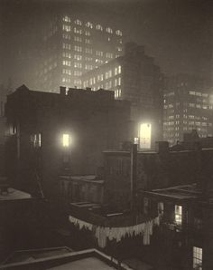 From the Back Window, 1915 by Alfred Stieglitz Close friend of Georgia O'Keefe Edward Steichen, Alfred Stieglitz, Vintage Photography, Street Photography, Art Photography, Night Photography, Nocturne, York Art Gallery, Georgia Okeefe