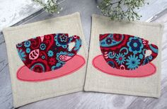 Retro Drinks Coasters - Set of 2 Fabric Coasters - Gift Idea £12.00