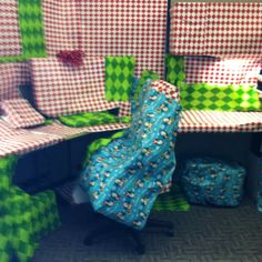 A office cubical wrapped for Christmas