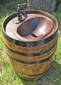 Wine Barrel Sink Base Vanity (Black Bands)(Shipping Cost SouthEast Only Other See Map in Photos) Whiskey Barrel Sink, Whiskey Barrel Furniture, Primitive Bathrooms, Rustic Bathrooms, Wine Barrel Sink Bathroom, Barn Sink, Bucket Sink, Ideas Baños, Wine Barrel Table