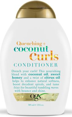 Drench your curls! This nourishing blend of coconut oil, sweet honey, and a twist of citrus oil helps to enhance natural softness, boost decadent spirals, and tame frizz for beautiful tumbling waves with bounce and shine. Ogx Shampoo, Curl Shampoo, Coconut Shampoo, Shampoo For Curly Hair, Curly Hair Care, Coconut Oil, Shampoos, Hydrate Hair, Moisturize Hair