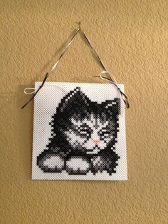 Black and White Kitten Perler Sprite Wall by TheHouseThatCrafts, $17.50