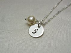 Monogram Bridesmaid Necklace - Set of 6 - Ivory Pearl Initial Necklace Custom Bridesmaid Jewelry Bridesmaids Gift Bridal Party Jewelry