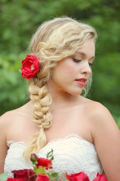 Gorgeous side braid with a red hair flower. by Julie Roberts Photography. Flower pin by Romantic ART Life