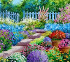 Garden Painting colorful flowers art drawing garden painting digital watercolor