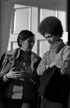 Kathleen Cleaver, right, talking with an unidentified woman in front of Reverend C.K. Steele's church - Tallahassee, Florida.Kathleen Neal Cleaver was born on May 13, 1945 in Dallas, Texas. In November 1967 she moved to San Francisco to join the Black Panther Party and became the communications secretary and the first female member of the Party's decision-making body. She also served as the spokesperson and press secretary.