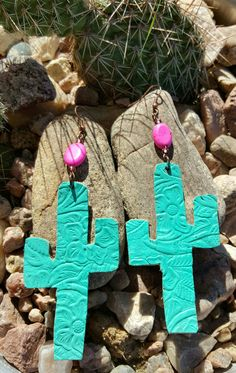 Turquoise leather cactus earrings $20