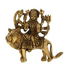 Religious Statue Brass Collectible Figurines Goddess Durga With Lion 8.89 cm x 8.89 cm x 2.54 cm: Amazon.co.uk: Kitchen & Home