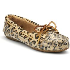 Sperry Top-Sider® Skiff Leopard Print Loafers With Sequin Accents ($65) ❤ liked on Polyvore