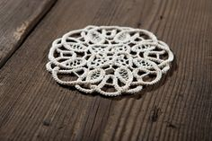 Lace Doily in ecru. Mixed Technique: knitting and darning needle. Renaissance…