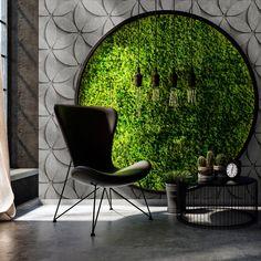 Fototapete tile 1 Livingwalls Walls by Patel Salon Interior Design, Interior Decorating, Home Room Design, House Design, Green Wall Decor, Moss Wall, House Plants Decor, Interior Garden, Interior Office