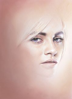 """""""Ginta Face Study . Pencil and pastel on paper . 21 x 30 cm . 2011"""" By """"Bec Winnel"""""""