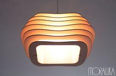Morawka: Designerskie lampy z recyclingu - PLN Design Wood Pendant Light, Pendant Lamp, Laser Cut Plywood, Wooden Lampshade, Lamp Cord, Art Drawings Beautiful, Honey Colour, Unique Lamps, Beautiful Lights