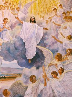 All of heaven will return with Christ at His Second Coming. Graves will open and his saints will return to heaven with him! by kathy Bible Pictures, Jesus Pictures, Catholic Art, Religious Art, I Believe In Angels, Christ The King, Prophetic Art, Jesus Is Coming, Jesus Art