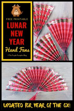 These free printable Chinese New Year paper hand fans are easy to make, and are a fun party favor or table decoration for your Chinese New Year / Lunar New Year celebrations! New Year Printables, Free Printables, Party Printables, New Year's Crafts, Paper Crafts, Birthday Celebration Quotes, Celebration Cakes, Paper Flower Backdrop Wedding, Purple Pumpkin