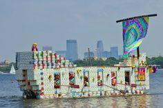"""Grandpa's Bucket List"" commands the water at the Aladdin Milk Carton Boat Races Sunday, July 17, 2011."