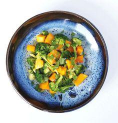 Zoete aardappel met kokos en broccoli