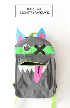 Duck Tape monster backpacks // Simple & affordable kids craft  // By Jessica Abbott