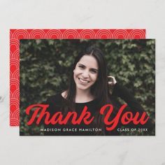 """Graduation thank you card personalized with the graduate's photo, name, and graduation year. """"Thank You"""" is displayed in a bold red script font. Designed by Late Bloom Paperie. #graduationthankyoucards #graduationthankyounotes #graduationthankyoucardswithphoto #graduationthankyoucardtemplate #zazzle #ad Graduation Thank You Cards, Graduation Year, Graduation Party Invitations, Graduation Party Decor, Graduation Announcement Template, Graduation Announcements, Thank You Card Template, Custom Thank You Cards, Graduation Cap Toppers"""