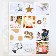 Handbook Studio Calico, December Daily. Me gusta la idea de la tarjeta con la pieza de madera, y lo bonito que queda mezclar fotos b/N con color. Tamaño cuadrado para las fotos.