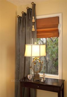 Steampunk window treatments: traditional elements applied asymetrically