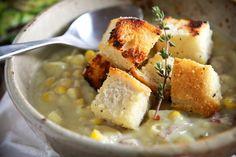 Cheeky Kitchen's Creamy Corn Chowder recipe that is also vegan!