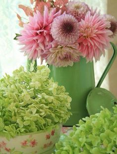 Bouquet fleurs rose vert
