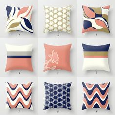 Mix and match navy blue, coral pink, golden yellow and off white pillows. All pillows in my shop can be made of outdoor fabric as well. Please