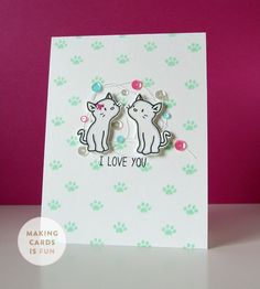 makingcardsisfun.com card and video: I Love You using the Purrfect Pair stamp set and die cut set from Mama Elephant.