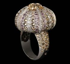 """""""Urchin"""" 18k gold ring in cognac and white diamonds, and pink sapphires by Lorenz Baumer"""