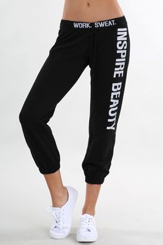 "These are the most comfy sweat pants around. These can be worn to work out or just to lounge around in. Who doesn't love a stylish pair or sweats?! We love the ""Inspire Beauty"" on the leg. It's such a"