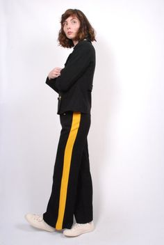 Smythe Officer Pant in black w/ yellow stripe. This stretch item pa Essential Wardrobe Pieces, Tailored Jacket, Yellow Stripes, Black Pants, Normcore, Product Launch, Menswear, Color, Products