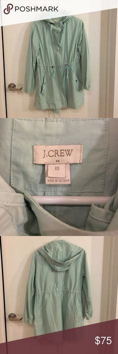 J • Crew Mint Parker Coat  -  Size XS Classic Parker in mint from J • Crew. A necessity for Fall and Spring. Unique addition to your closet. Excellent condition. J.Crew Factory Jackets & Coats