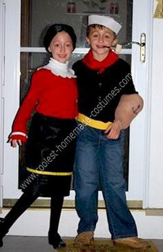 Homemade Popeye and Olive Oyl Couple Costume
