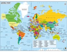 Word Map - Find here the best world map labeled with country name, this is purely a online digital world geography map in English with all countries labeled. World Geography Map, Geography For Kids, Geography Activities, Teaching Geography, Geography Classroom, Geography Revision, Gcse Geography, Geography Lessons, Human Geography