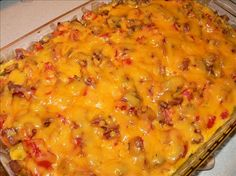 Breakfast casserole. SO easy. made this for Christmas morning but halved it and used ham. and served with salsa. YUM!