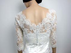 V-neck ivory Alencon Lace bolero jacket Bridal Bolero Wedding jacket wedding bolero bridal shrug bridal jacket, via Etsy.