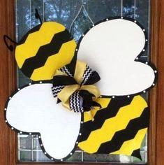 Spring Chevron Bumble Bee Wooden Door Hanger by TheButterbean1, $30.00 by cheryl