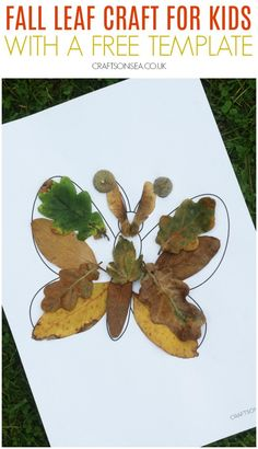 Easy butterfly fall leaf craft for kids using our free butterfly template