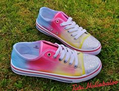 Summer rainbow dyed soft canvas shoes Have a little bit of colour for your feet These shoes are size 5 and are ready to be posted Any soft