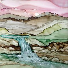 Water and rocks. Alcohol ink painting on tile by Linda Crocco Best Picture For Painting wallpaper Fo Alcohol Ink Glass, Alcohol Ink Crafts, Alcohol Ink Painting, Watercolor Flowers, Watercolor Paintings, Ink Paintings, Watercolours, Painting & Drawing, Painting On Tiles