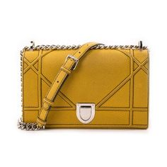 44c403f682c5 Christian Dior Diorama Medium Shoulder Bag Yellow Leather