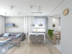 (Pruszków) Projekt mieszkania 3 - Średni salon z jadalnią, styl nowoczesny - zdjęcie od BAGUA Pracownia Architektury Wnętrz