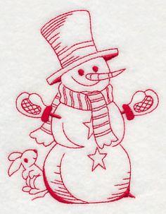Best-Dressed Snowman 4 (Redwork) design (K5817) from www.Emblibrary.com
