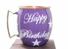 Happy Birthday Hand Painted Copper Moscow Mule Mugs Special Deign Purple #ParijatHandicraft