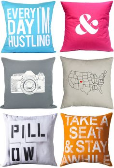 fun little tossable pillows to pop some color on a comfy couch