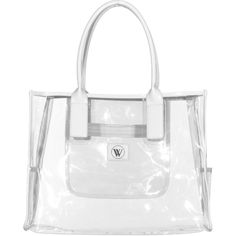 WILDFOX Original Fox Vinyl Large Clear Transparent beach tote (135 CAD) ❤ liked on Polyvore featuring bags, handbags, tote bags, clear beach bag, clear beach tote, white tote bag, vinyl tote bag and vinyl beach tote