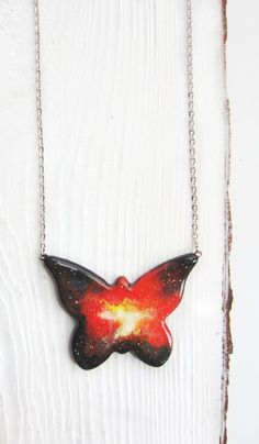 Butterfly pendant Star Galaxy Butterfly jewelry by MagicTwirl
