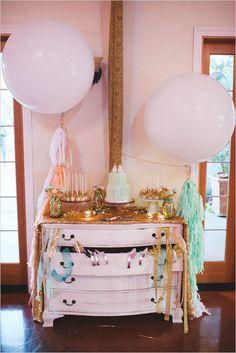 giant dessert table with balloons #giantballoons  #weddingballoons #weddingchicks http://www.weddingchicks.com/2014/01/07/diy-tassel/